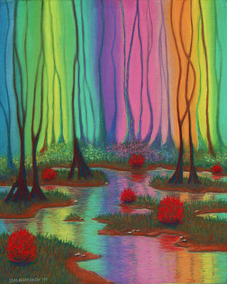 Pastel - Mystic Marsh 01 Panel A by Michael Heikkinen