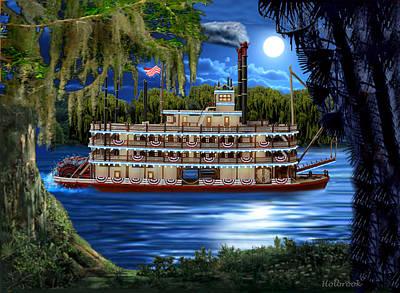 Digital Art - Mystic Moonlight Cruise by Glenn Holbrook