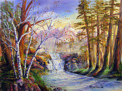 Babbling Brook Painting - Mystic Mountain Stream by Wayne Enslow