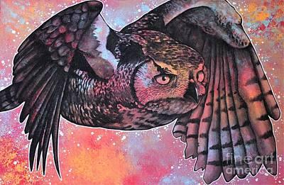 Trippy Painting - Mystic Owl by Dan Gee