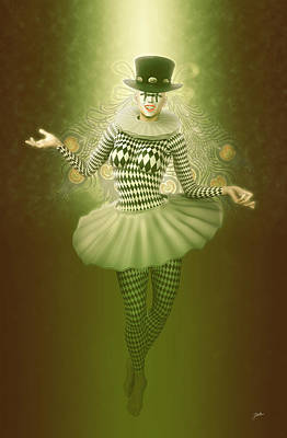 Cabaret Digital Art - Mystic Pierrette by Joaquin Abella