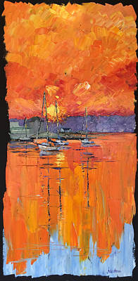 Painting - Mystic River Sunset by Carrie Jacobson
