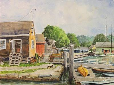 Salmon Painting - Mystic Seaport Boathouse by Patty Kay Hall