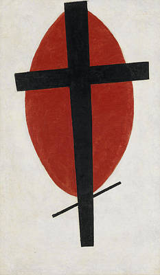 Oval Painting - Mystic Suprematism, Black Cross On Red Oval by Kazimir Malevich