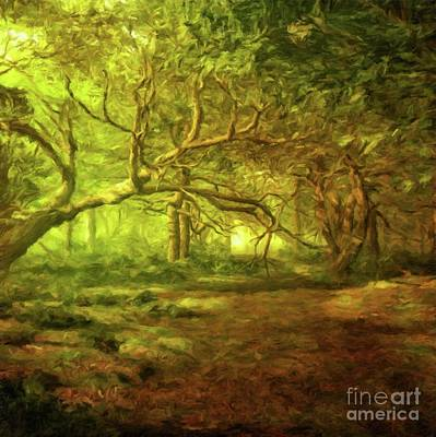 Mystical Landscape Painting - Mystic Wood By Sarah Kirk by Sarah Kirk