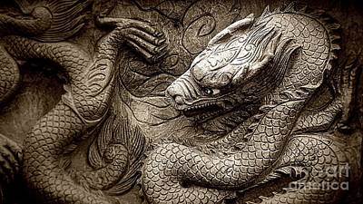 Digital Art - Mystical Ancient Dragon Of China B/w by Ian Gledhill