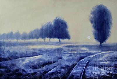 Mystical Landscape Painting - Mystical Blue Landscape by Anita Si