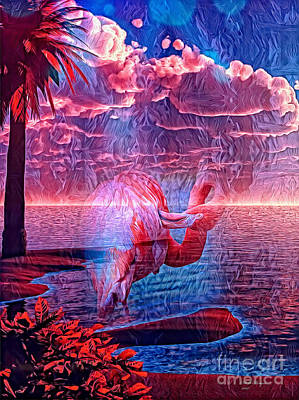 Mixed Media - Mystical Flamingo World by Bill And Deb Hayes