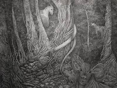 Fallen Leaf Drawing - Mystical Forest by Thuthuy Tran