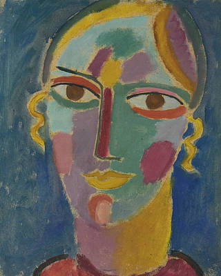 Russian Art Painting - Mystical Head Woman's Head On A Blue Background by Alexej von Jawlensky