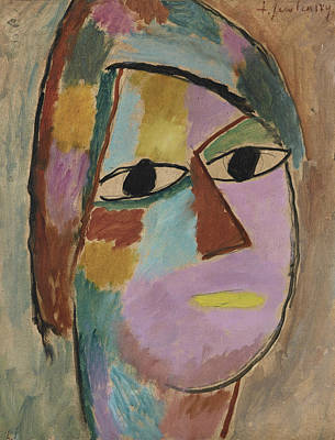 Jawlensky Painting - Mystical Head Woman's Head - Yellow Mouth by Alexej von Jawlensky