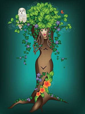 Digital Art - Mystical Maiden Tree by Serena King