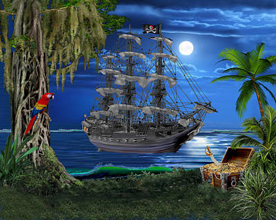 Digital Art - Mystical Moonlit Pirate Ship by Glenn Holbrook