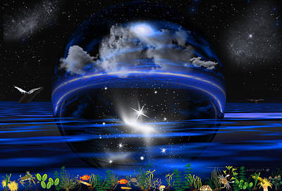 Whale Digital Art - Mystical Nights by Robert Orinski