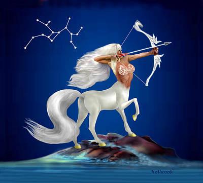 Centaur Digital Art - Mystical Sagittarius by Glenn Holbrook