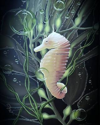 Art Print featuring the painting Mystical Sea Horse by Dianna Lewis
