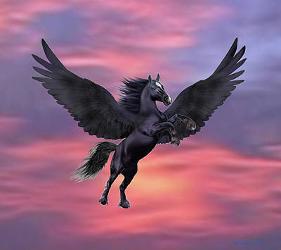 Digital Art - Mystical Sunset Pegasus by Glenn Holbrook