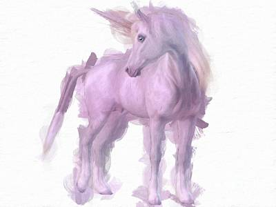 Unicorn Art Painting - Mystical Unicorn By Mary Bassett by Mary Bassett