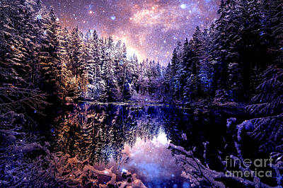 Mystical Wintry Forest Art Print