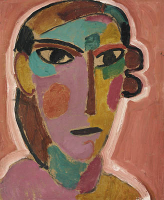 Painting - Mystical Women's Head On Red Ground by Alexej von Jawlensky