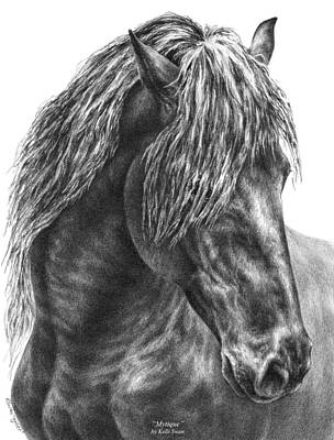 Equine Drawing Drawing - Mystique - Friesian Horse Portrait Print by Kelli Swan