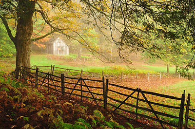 Split Rail Fence Photograph - Mystique - A Connecticut Autumn Scenic by Thomas Schoeller