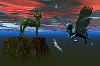Centaur Digital Art - Myth Mountain by Claude McCoy