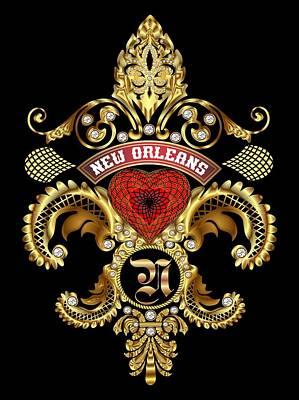 Zeus Mixed Media - N-fleur-de-lis New Orleans Transparent Back Pick Color by Bill Campitelle