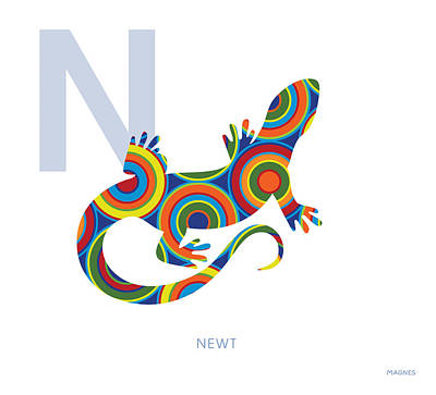 Newts Digital Art - N Is For Newt by Ron Magnes