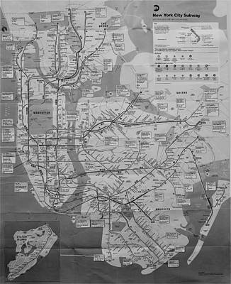 Photograph - N Y C Subway Map B W by Rob Hans