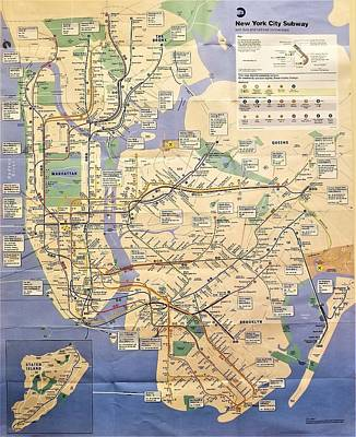 Photograph - N Y C Subway Map by Rob Hans