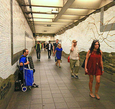 Photograph - N Y C Subway Scene # 38 by Allen Beatty