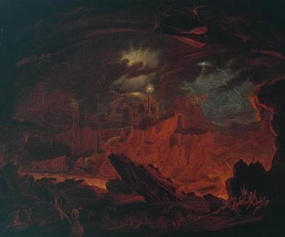 Night Angel Painting - N05435the Fallen Angels Entering Pandemonium by John Martin