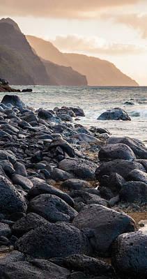 Na Pali Lava Rocks Art Print by Adam Pender