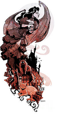 Graveyard Digital Art - Nadja's Flight by Brian Kesinger