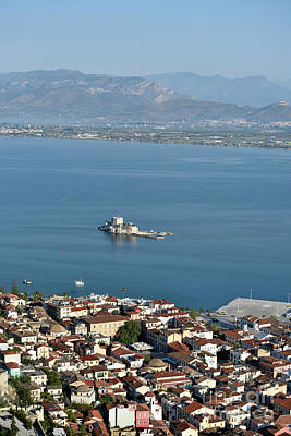 Sea Photograph - Nafplio Town And Bourtzi Fortress by George Atsametakis