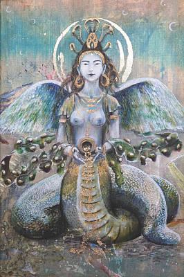 Naga Kanya Bestowing Treasures Art Print