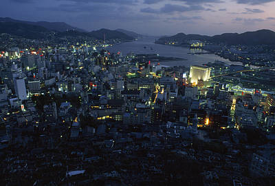 Japan Town Photograph - Nagasaki Overlooking Its Harbor At Dusk by James L. Stanfield