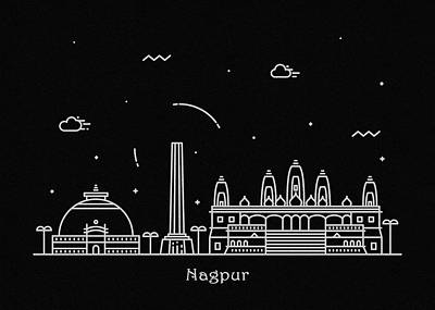 Skyline Drawing - Nagpur Skyline Travel Poster by Inspirowl Design