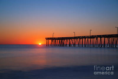 Nags Head Fishing Pier Sunrise Art Print by Michael Ver Sprill
