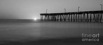 Giuseppe Cristiano - Nags Head Fishing Pier Sunrise Panorama BW by Michael Ver Sprill