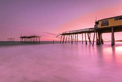 Photograph - Nags Head Frisco Fishing Pier Sunset by Ranjay Mitra
