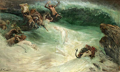 Naiad Painting - Naiads And Centaurs In The Waves by Georges Jules Victor Clairin