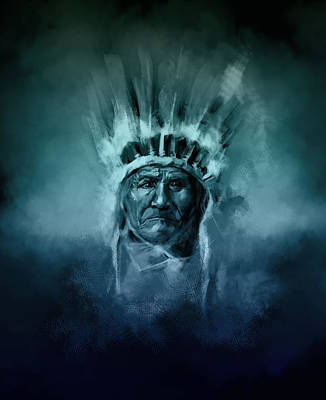 Painting - Naive American Chief-geronimo 2 by Bekim Art