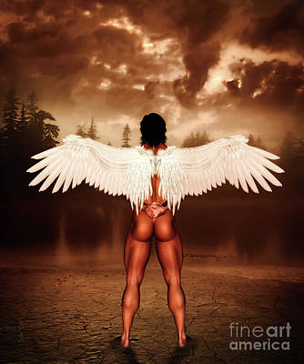 Partial Nude Digital Art - Naked Before God by KaFra Art