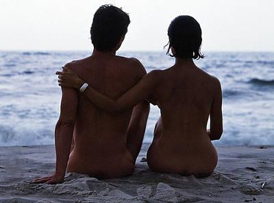 Naked Couple On Beach Art Print by Stan Fellerman