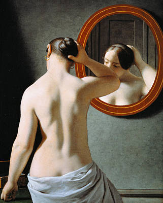 Hair Bun Painting - Naked In The Mirror by Johan Frederik Eckersberg