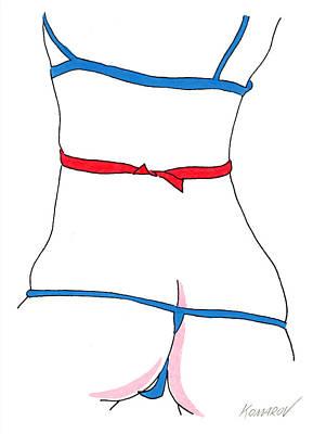 High Heels Art Drawing - Naked Lingerie Girl by Vitali Komarov