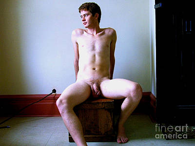 Photograph - Naked Model Matt Sitting On Crate by Christopher Shellhammer