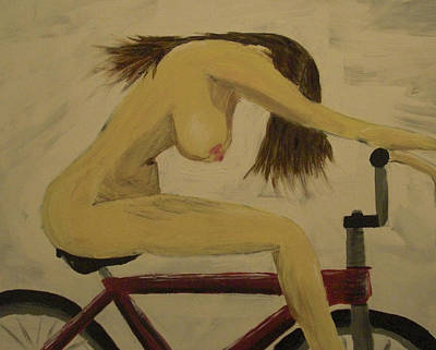 Girl On Bike Painting - Naked On A Bike by Nick  Kenworthy
